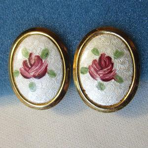 Vintage Guilloche Rose Clip Earrings white gold